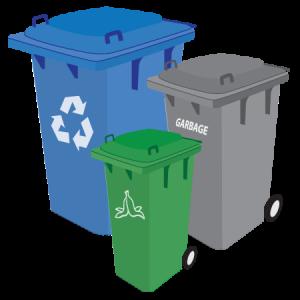Blue Gray and Green Trash Carts